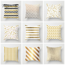Fuwatacchi Geometric Gold Cushion Cover Hot  Striped Pillow Cover Home Sofa Chair Decorative Soft Pillowcases fuwatacchi floral cushion cover feather leaves gold pillow cover for decor sofa chair square decorative pillowcases