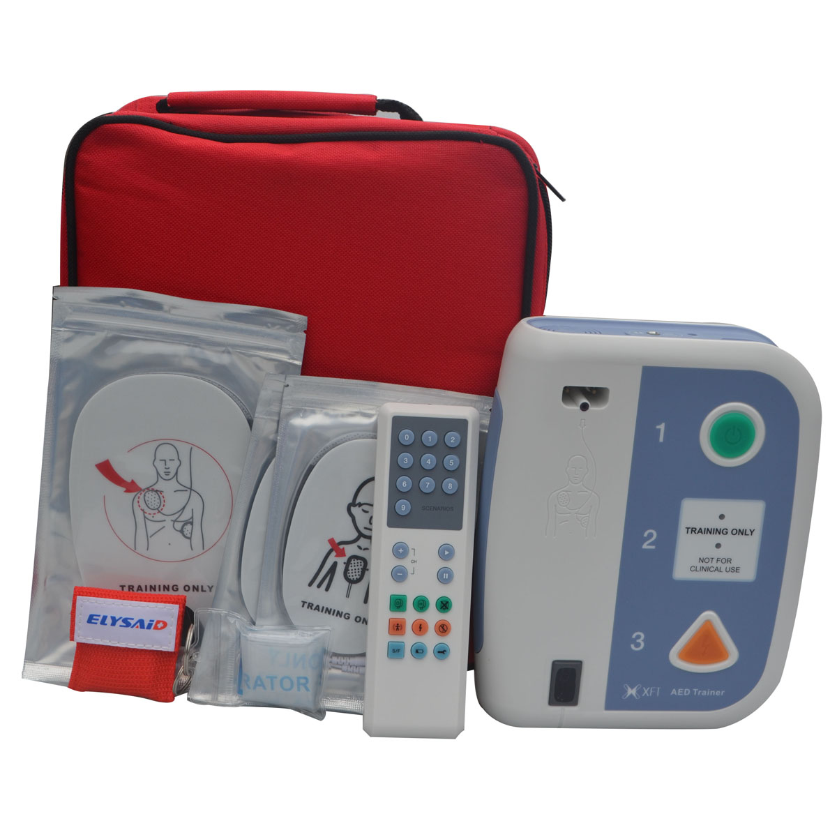 AED Simulated Defibrillator Universal Trainer First Aid Training Machine + 2pcs CPR Face Shield Mask In Spanish & Portuguese