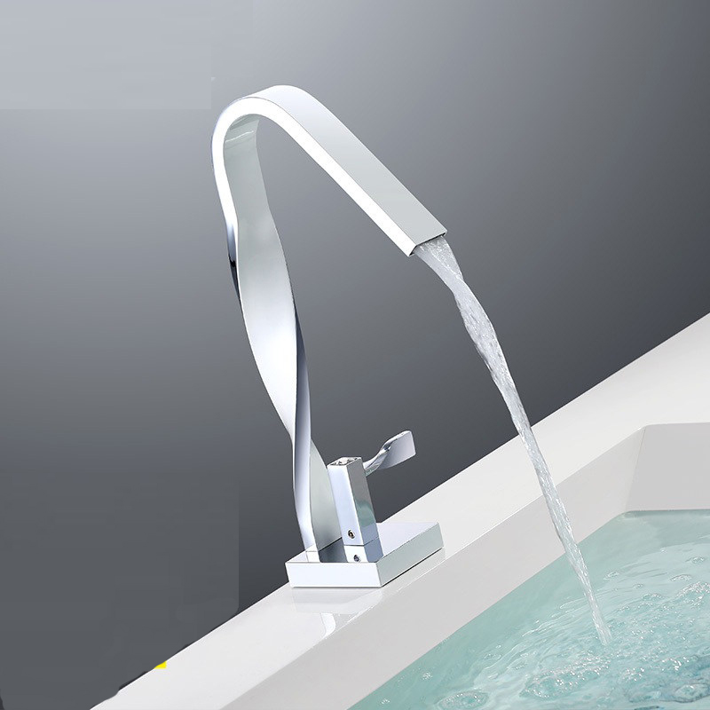 Grifo de baño de cocina de cobre lleno de cromo plateado lavabo de un solo agujero giro giratorio Salida de pintura grifo blanco wx5141130 - 4
