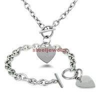 Heißer Verkauf frauen Modeschmuck Set Silber/Gold Edelstahl Herz Charm Toggle Halskette Armband