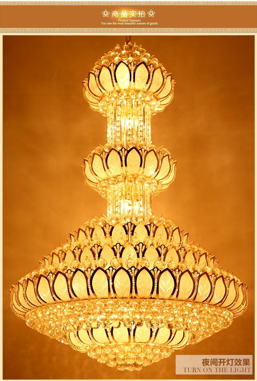 Lotus Crystal Ljuskrona Ljusarmatur LED Guld Crystal Ljuskronor - Inomhusbelysning - Foto 4