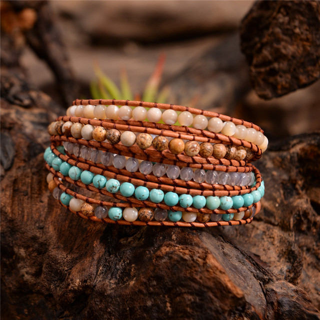 2018 New Jewelry 5 Strands  Natural Stone Bead Handmade Leather Bracelet Wrap Bracelet HandWork Drop Shipping  Gift