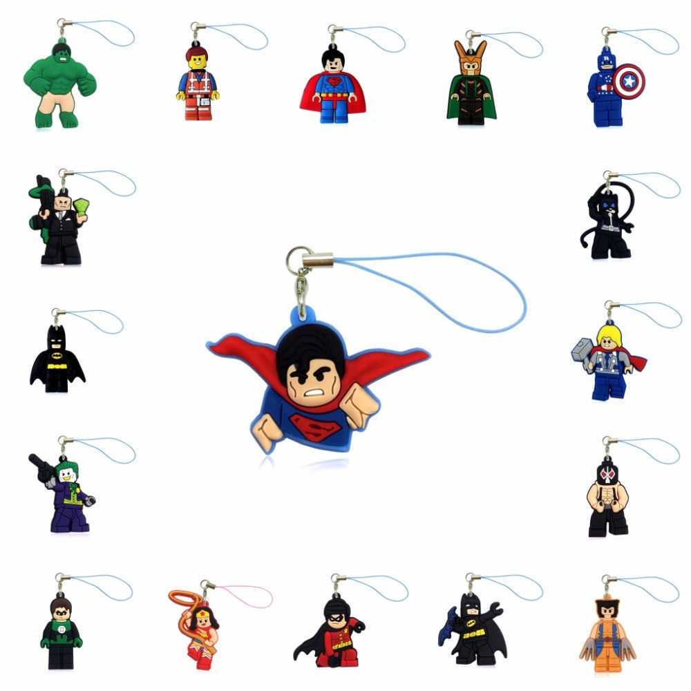 Useful 1pcs Pvc Cartoon Super Hero Lanyard Hulk Batman Hanging Ornaments For Cell Phone Backpack Decoration Fashion Charms Strap Gift