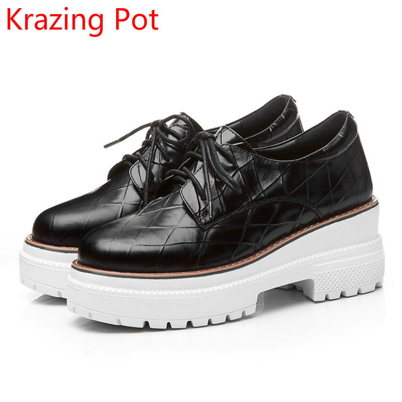 2018 New Arrivel Fashion Brand Shoes Cow Leather Lace Up Platform Handmade  Wedges High Heels Increased Women Casual Shoes L39 nayiduyun fashion women cow leather lace up fashion high heels wedge sneakers platform party pumps low top casual punk greepers