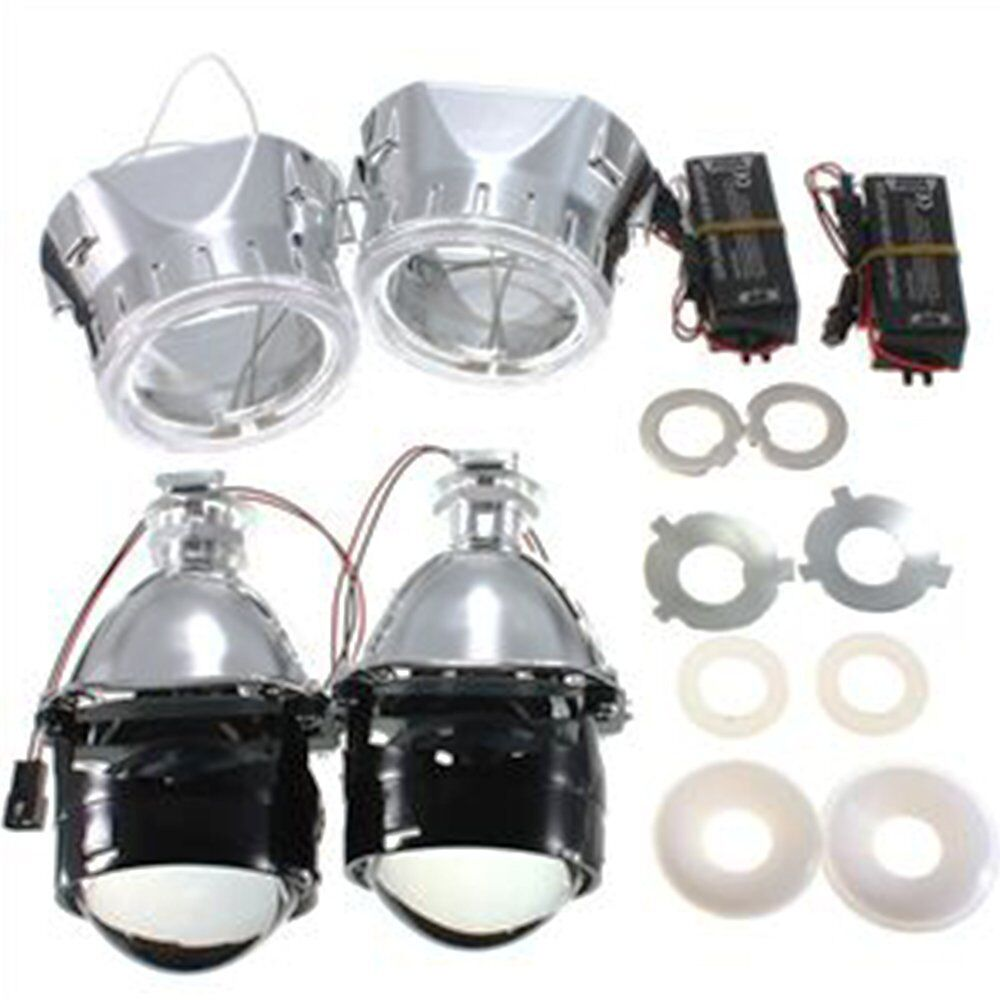 H1 H7 H4 Mini 2 5 inch bixenon projector lenses mask shroud double angel eyes car