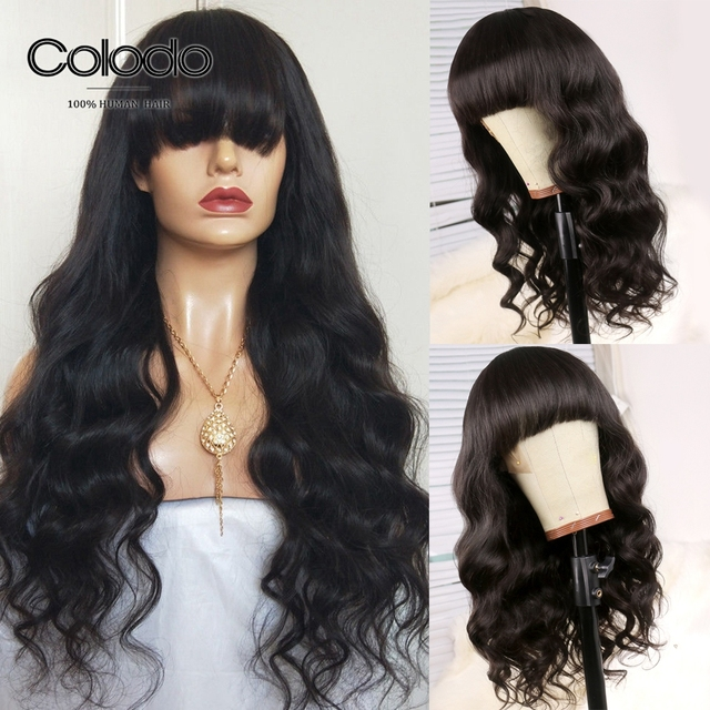 bcf1cc85aad US $82.5 50% OFF|COLODO 150% Density Remy Human Hair Wigs with Bangs Loose  Deep Wave Lace Front Wig Pre Plucked Brazilian Wigs for Black Women-in Lace  ...