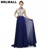 BRLMALL Hot Sale Royal Blue Prom Dress sleeveless High Neck Evening Dresses Beaded Crystal Backless Evening gown robe de soiree