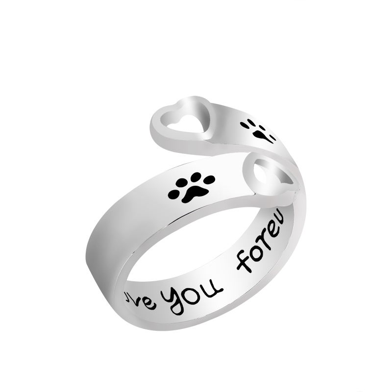 "Fashion Hollow Pet Dog Paw Foot Print Ring Udskåret ""Jeg vil elske dig for evigt"" Hunde Footprints Klør Love Heart Rings For Women"