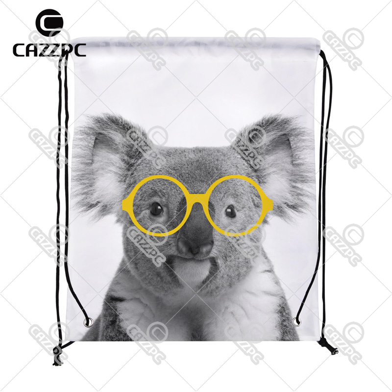 Black and White cute Koala animal with yellow Glasses Print individual Nylon Fabric Drawstring Shoes Storage Dust Bag Pack of 4