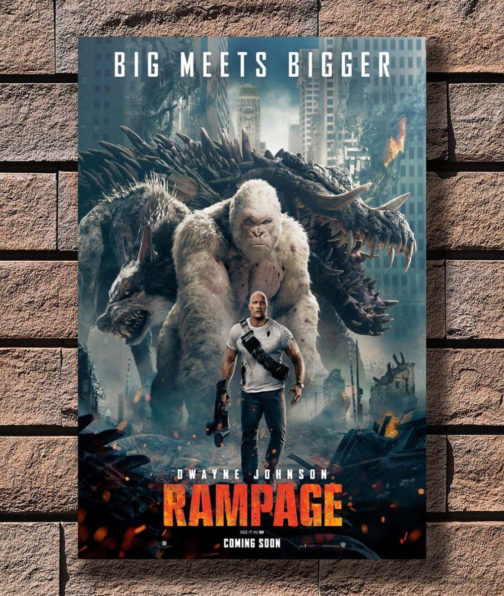 Us 3 18 9 Off B 311 Rampage Movie 2018 New Dwayne Johnson Japanese Poster Art L W Canvas Print Decoration 12x18 24x36 27x40 Inch In Painting