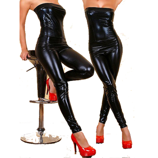 d7b060ff9c0f4c Stunning Strapless Women Catsuit Black Skinny Jumpsuit Faux Leather  Bodysuit Overalls Pole Dancing Costume Clubwear