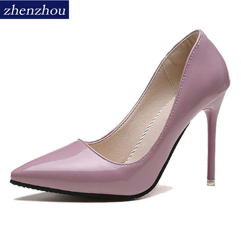 ZHENZHOU Free shipping woman Pumps 2018 spring and autumn nude color pointed women's shoes are sexy and high heels Fine with