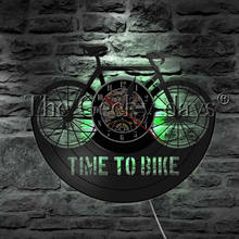 73496eb5565 1 peça Tempo Para Bike Bicicleta Retro Registro de Vinil Relógio de Parede  Luz CONDUZIDA Da