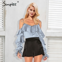 Simplee Elegant Strap Satin Blouse Shirt Women Tiered Flare Sleeve Cold Shoulder Solid Blouse 2018 Spring