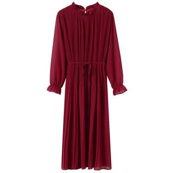 2020 Spring Summer New Hot Women Print Pleated Chiffon Dress  Fashion Female Casual Flare Sleeve Lotus leaf neck Basic Dresses86 2