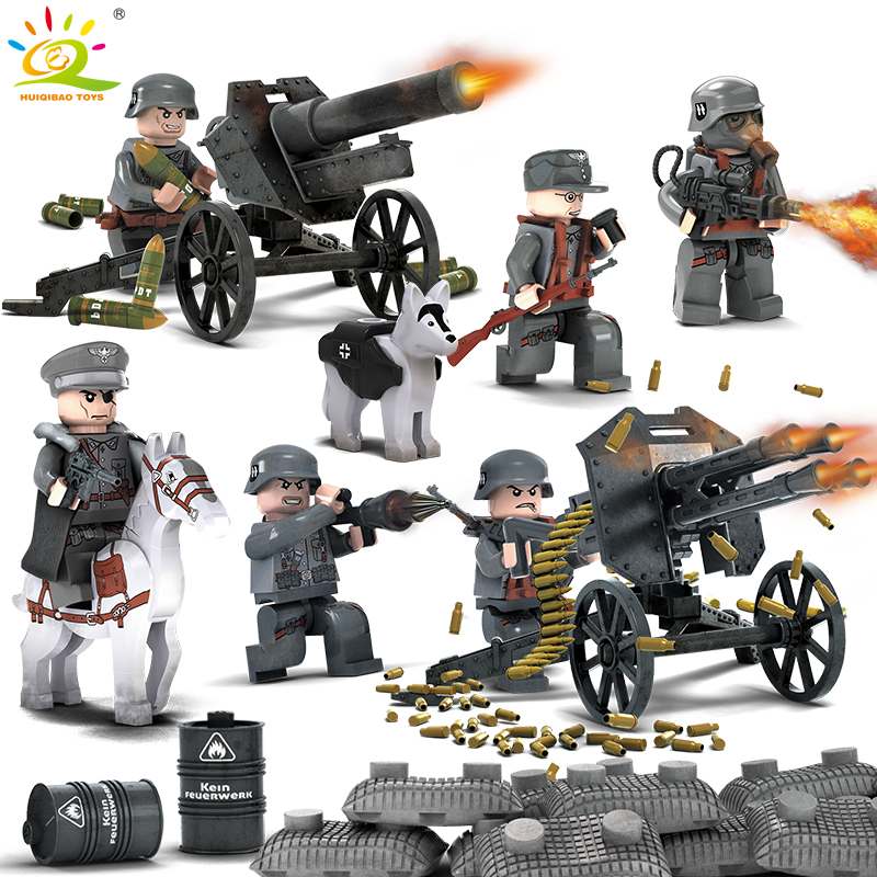 6pcs German Military Police SWAT Army Soldiers Weapon Compatible Legoed city figures WW2 Building Blocks bricks Toy for children 1712 city swat series military fighter policeman building bricks compatible lepin city toys for children