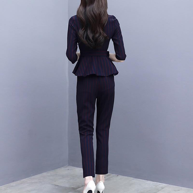 Noir Rayé Outfit Élégant Pantalon Vêtements 2 Pièces ord Moulante Co Top Femmes Automne Hiver Bureau Slim Et Yiciya Black 2018 Ensemble 0pUx8