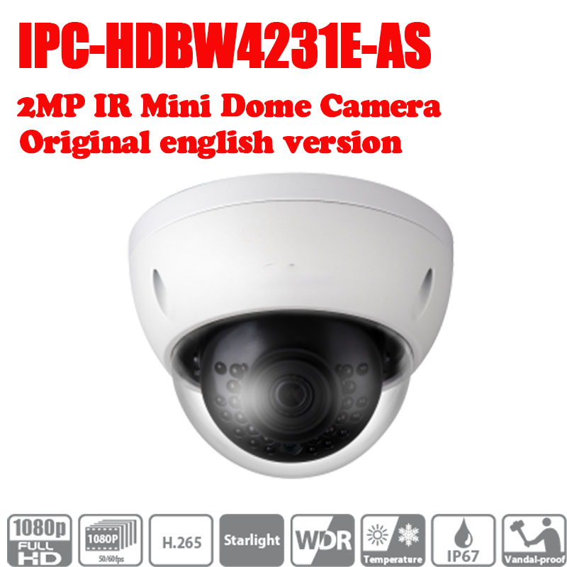 Free Shipping DAHUA 2MP IR Mini Dome Network Camera IPC-HDBW4231E-AS with Micro SD memory, IP67, IK10, PoE no logo free shipping dahua cctv camera 4k 8mp wdr ir mini bullet network camera ip67 with poe without logo ipc hfw4831e se