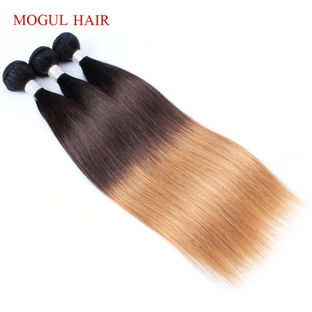 Mogul Hair Indian Human Hair Ombre Straight Hair Weave Bundles 2/3 Bundles Three Tone T 4 30 27 Honey Blonde Remy Hair Extension