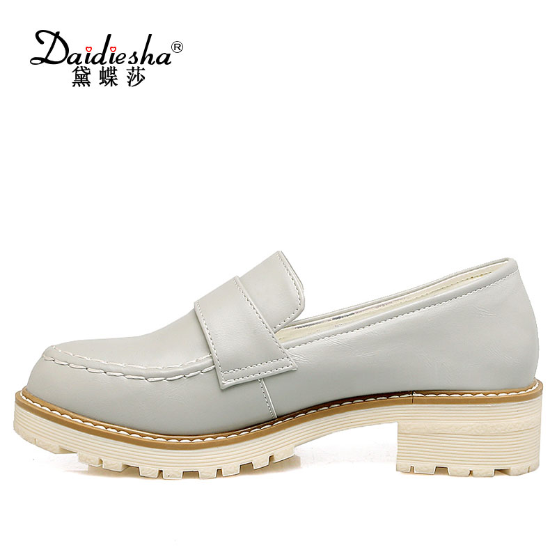 Daidiesha Slip-on women Block heels shoes Concise solid Sewing Girls Platform Loafer pumps Casual Date Soft Round toe zapatos nayiduyun women casual shoes low top platform wedge high heels boots round toe slip on pumps punk chic shoes black white sneaker