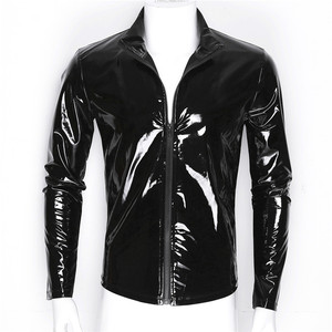 Image 5 - New Long Sleeve Patent Leather Men Shiny Metallic Front Zip Stand Collar Tops Wet Look Nightclub Style Jackets Party Costumes