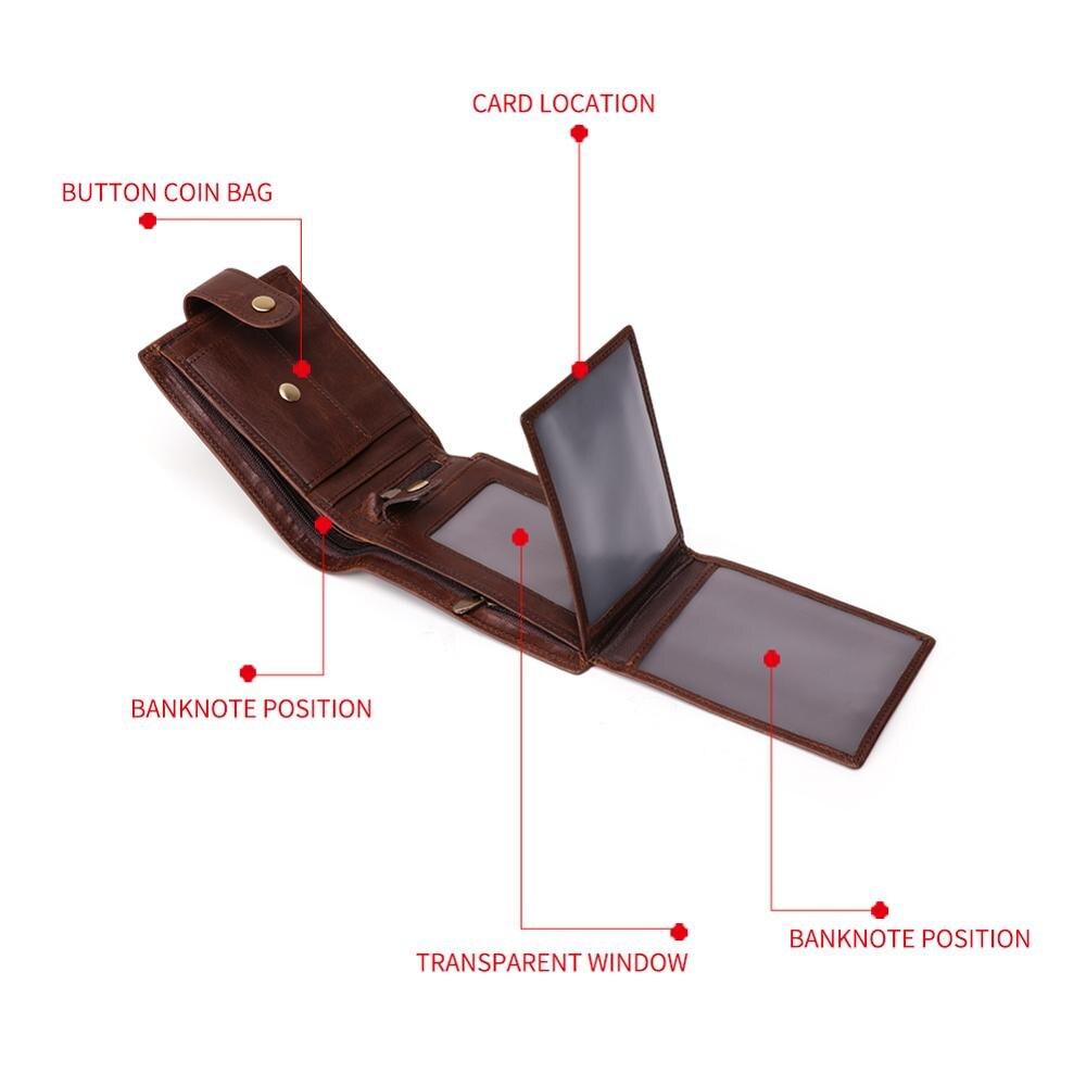 Image 3 - GENODERN New Arrival Vintage RFID Men Wallets Hasp Functional Trifold Wallet for Men Large Capacity Male PurseWallets   -