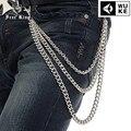 Men 's 3 Strands plata cadena de Metal cubano Gothic Punk Jeans monedero llavero de Hip Hop DJ de la correa del envío rey J19
