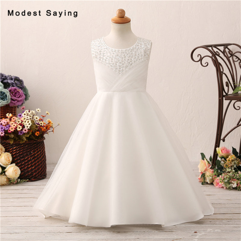 Lovely Ivory Ball Gown Beaded   Flower     Girl     Dresses   2018 with Bow Back Kids   Girls   Long Pageant Party Prom Gowns vestido daminha