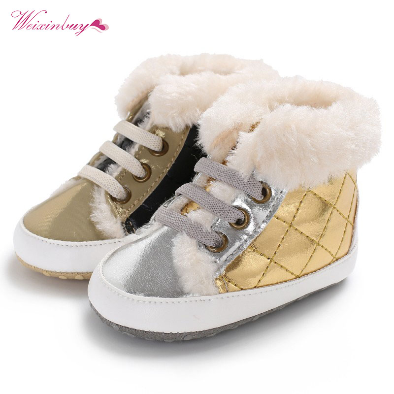 WEIXINBUY Newborn Baby Shoes Boy PU Plaid Keep Warm High top Soft Sole Cashmere Toddle Shoes Mocassins First Walkers in First Walkers from Mother Kids
