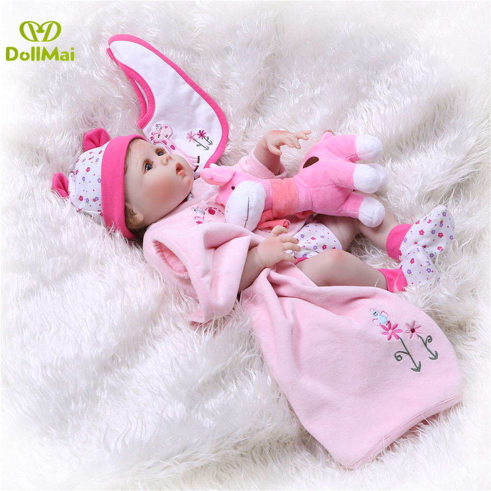 DollMai 23inch Lifelike reborn dolls babies Full silicone fashion rose pink menina Toys For Girls bebe gift reborn bonecas toy - 6