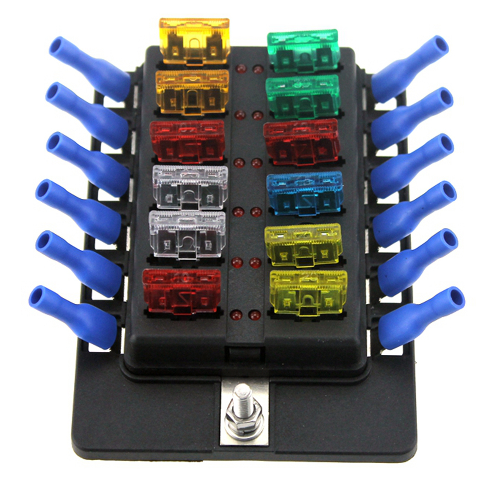 Newest 12 Way Led Boat Car Blade Fuse Box Truck Rv Fuse