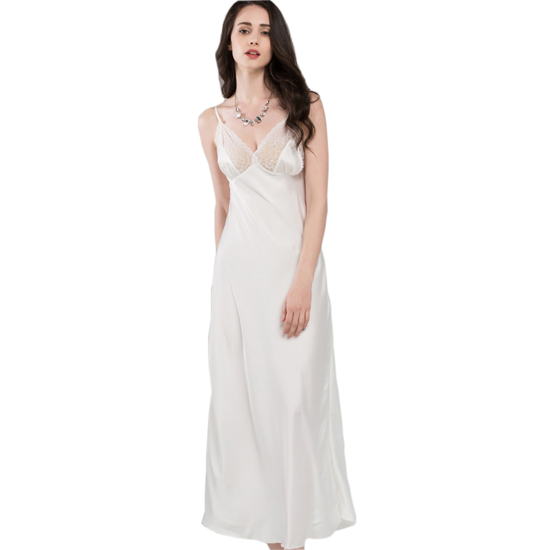 Lace Sexy Sling Sleeping Dress Satin Silk Sleepwear Women Faux Silk Long  Bathrobes Female Sleeveless V 9083792183e7