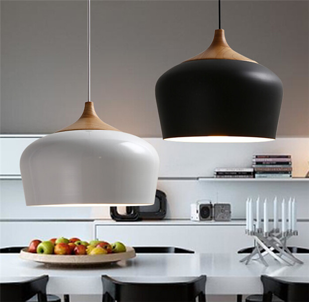 Ikea Moderna De Aluminio De Madera De Roble Lustre Enciende Blanco / Negro  Lámpara Colgante Cocina