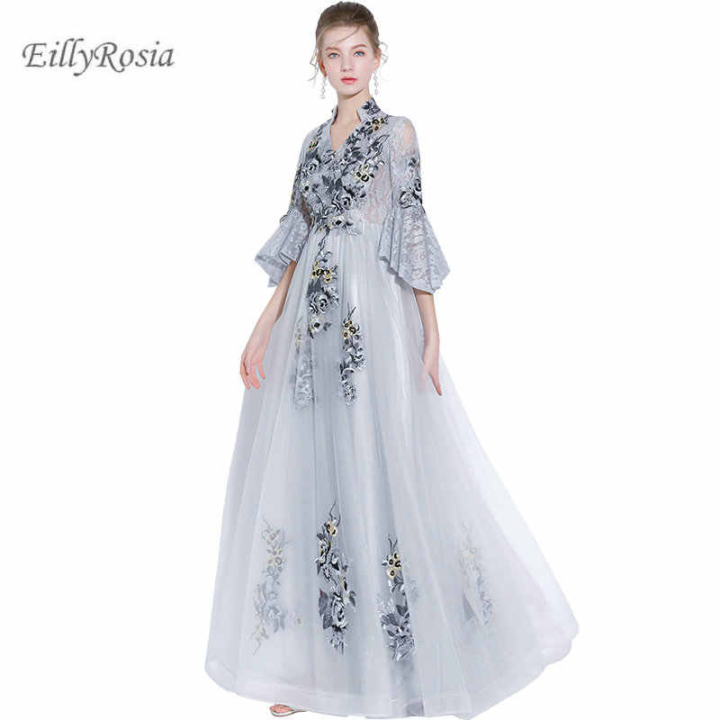 Lace Silver Mother of the Bride Dresses for Wedding Guest Embroidery Tulle  Juliet Sleeve Elegant Evening Party Gowns robe de bal