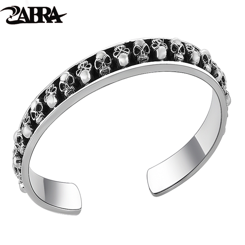 ZABRA Authentic 925 Sterling Silver Many Skulls Open Cuff Bangle Mens Bracelet Vintage Handmade Punk Rock Biker Men Fine Jewelry 27 5g solid sterling silver 925 skull cuff bangle bracelet men top fashion punk style rock star mens silver 925 jewelry gifts