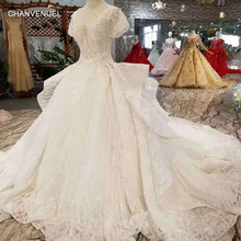 LSS283 princess wedding dresses pure new big v neck short puffy sleeves  wedding gown with ruffle style long train multi-layer 7a7b1fa58195