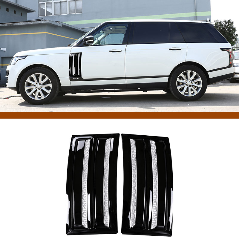 For Land Rover Range Rover Vogue SVO 2014-2018 ABS Gloss Black Chrome Car Side Door Air Vents Kit Trim Accessories 2pcs 4pcs set car interior accessories side door molding trim for land rover range rover sport 2014 2015 2016 2017 styling abs chrome