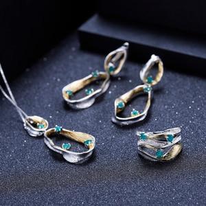Image 5 - GEMS balet Handmade Twist naszyjnik 925 srebro Fine Jewelry naturalny zielony agat kamienie szlachetne dla kobiet ślub