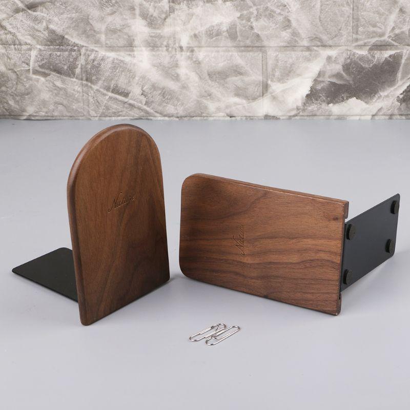 Walnut Wood Desktop Organizer Desktop Office Home Bookends Book Ends Stand Holder Shelf in Bookends from Office School Supplies