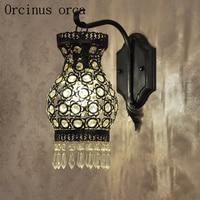 Bohemia black crystal wall lamp exotic living room bar restaurant bar table for Mediterranean iron art wall lamp free shipping