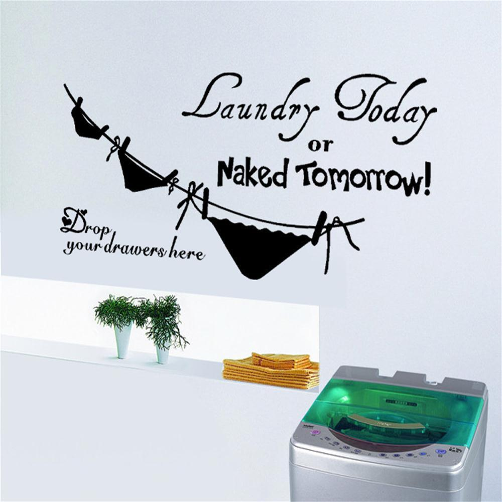 Laundry Vinyl Wall Decals Laundry Today Or Naked Tomorrow Wall Art Vinyl Decal Bathroom