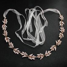 2019 Newest Arrival Rose Gold Wedding Belts and Sashes Alloy Bridal Sash Dress Accessories for Ladies