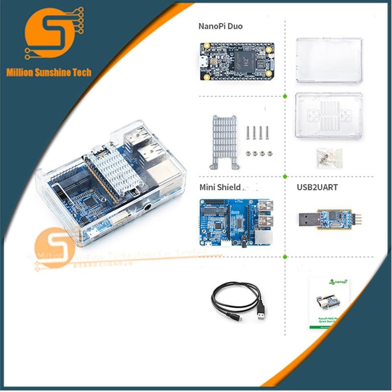 NanoPi Duo Starter Kit include NanoPi Duo/Acrylic Case/Mini Shield for NanoPi Duo/Heatsink/USB Cable/USB2UART Debug Cable friendlyarm nanopi neo2 demo board 512mb 1gb ram heatsink 5v 3a power adapter usb to ttl 8gb card usb cable nanopi neo2 kit e b