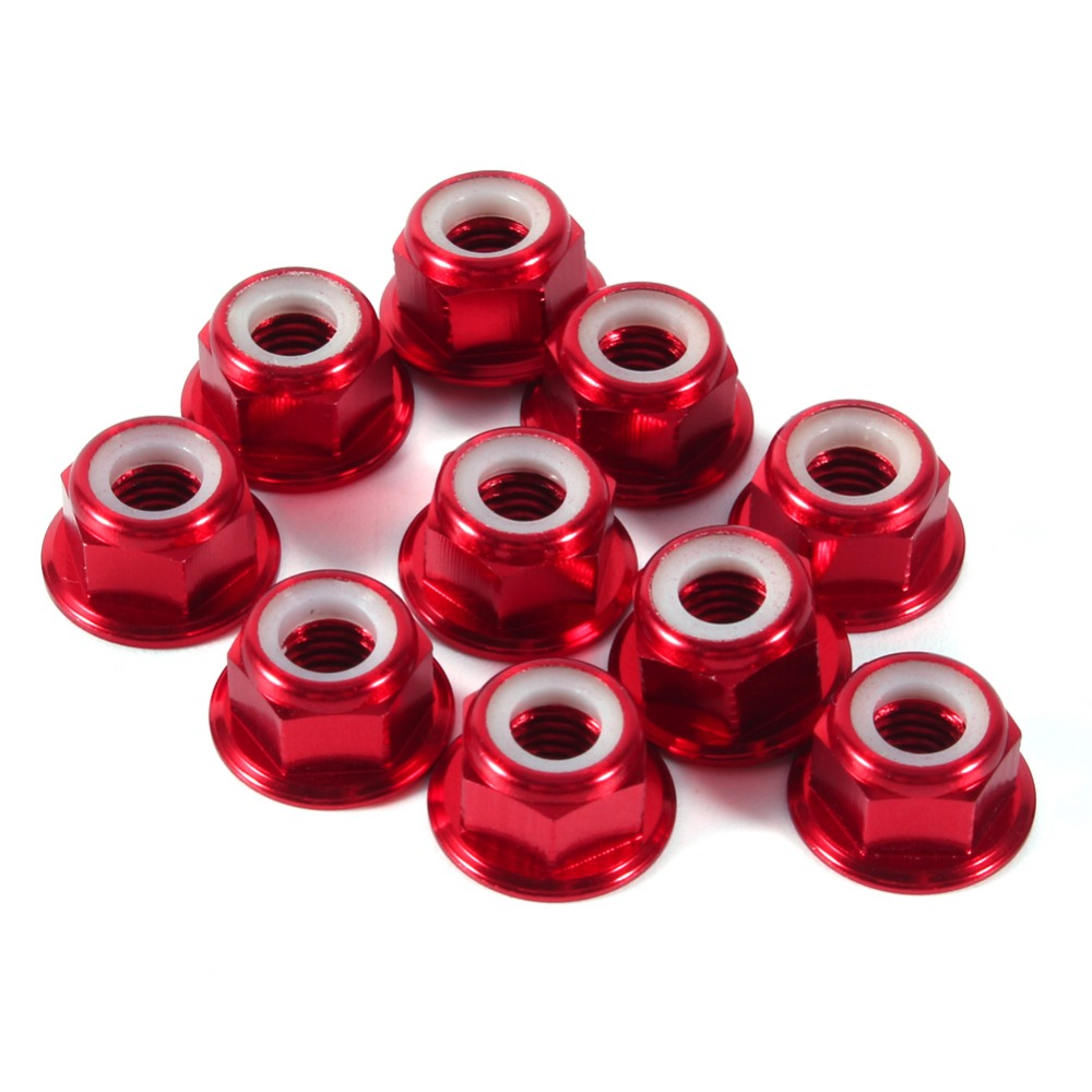 10PC/set M5 Aluminum Flanged Nylon Lock Hex Nut Optional Blue Red Gold Black