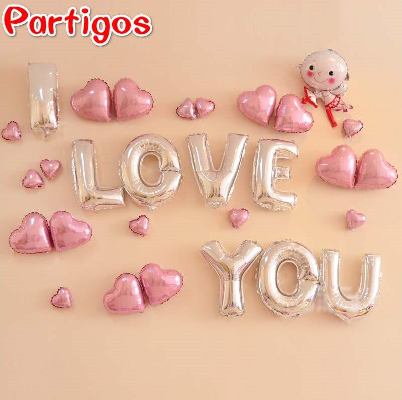 1set 16inch sliver letter i love you helium balloons pink for I love you letter balloons