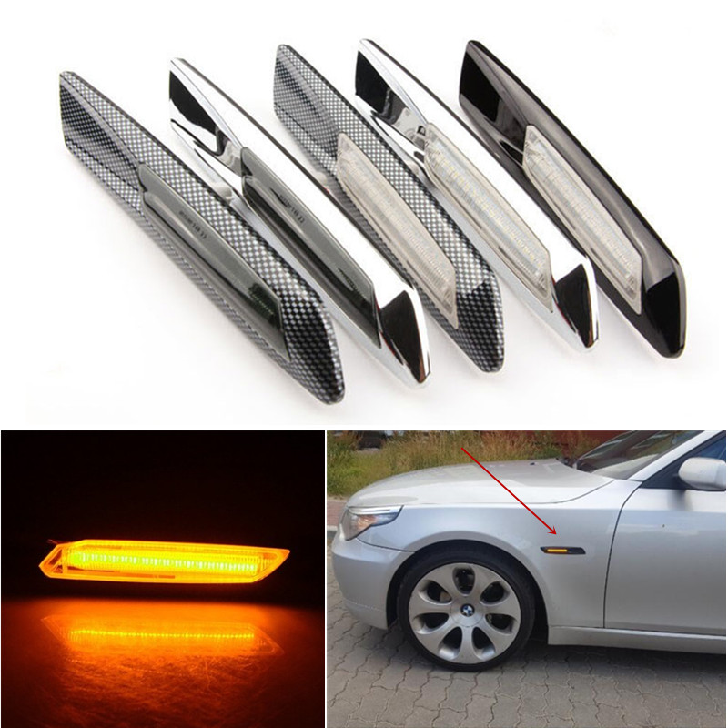 2PCS LED Fender Side Marker Light Turn signal light lamp for BMW E60 E61 E81 E82 E87 E88 E90 E91 E92 E93 Amber combo for 2007 2015 jeep wrangler smoke lens amber led front turn signal light fender side marker parking lamp