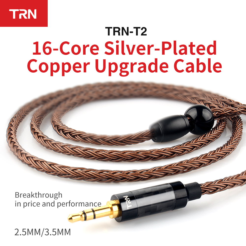 TRN T2 Earphone Cables 16 Cores Silver Plated 0.75MM 0.78MM MMCX 2.5mm Balanced 3.5mm For KZ ZSA AS16 ZS10 SE535 V80 CCA 1964 image