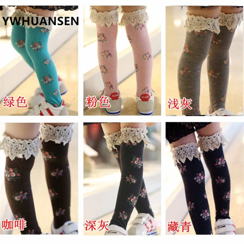 YWHUANSEN Lace Knee High Socks Cotton Princess Stockings For Girls Floral Children Hosiery Kids Toddlers Girls Knee High Socks