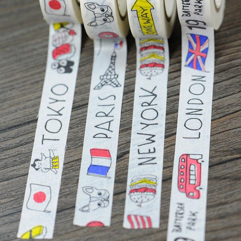 Buy 2016 new 4x cartoon cities london - Boutique masking tape paris ...