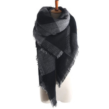 Za arrival wool blend oversized tartan scarf shawl pashmina plaid checked